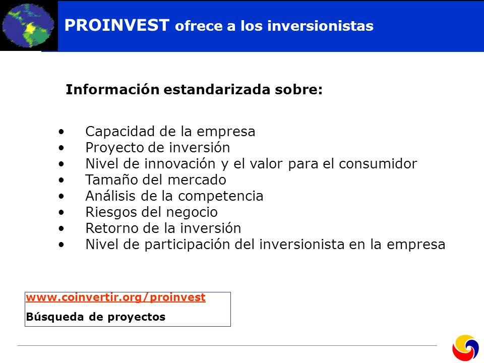Click to edit Master title style PROINVEST ofrece a los inversionistas Capacidad de la empresa Proyecto de inversión Nivel de innovación y el valor pa