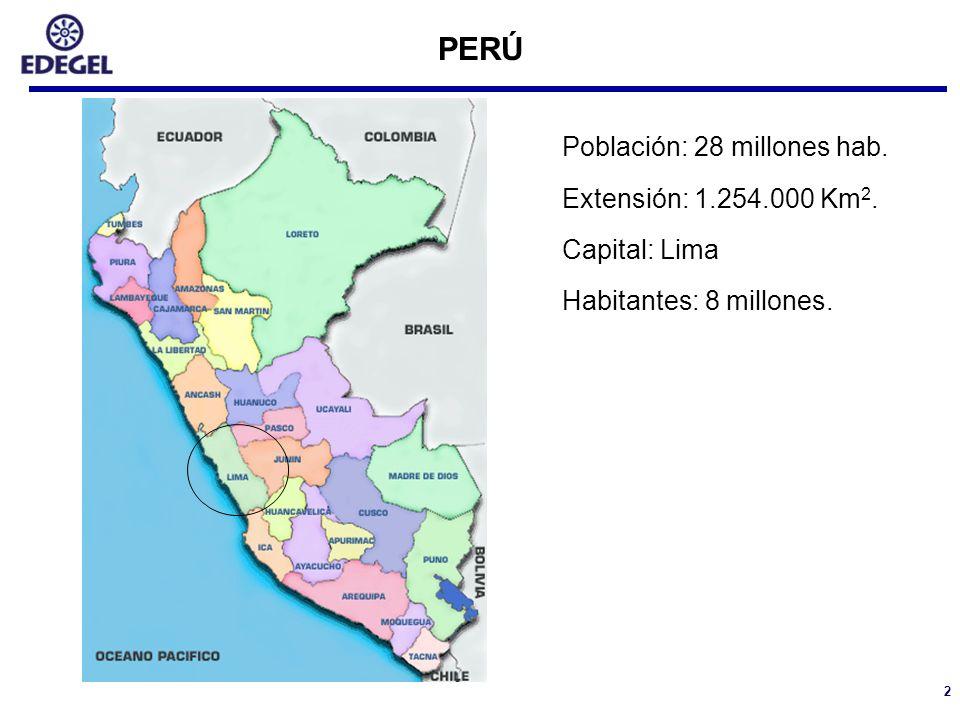 2 PERÚ Población: 28 millones hab. Extensión: 1.254.000 Km 2. Capital: Lima Habitantes: 8 millones.