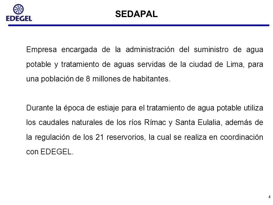 4 SEDAPAL Empresa encargada de la administración del suministro de agua potable y tratamiento de aguas servidas de la ciudad de Lima, para una poblaci