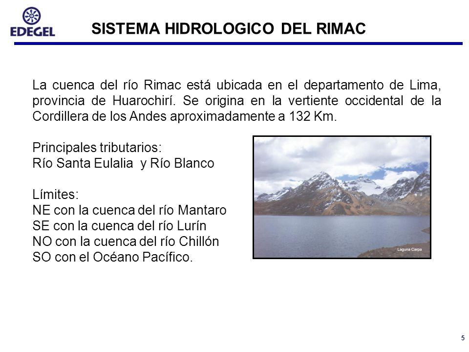 5 La cuenca del río Rimac está ubicada en el departamento de Lima, provincia de Huarochirí. Se origina en la vertiente occidental de la Cordillera de