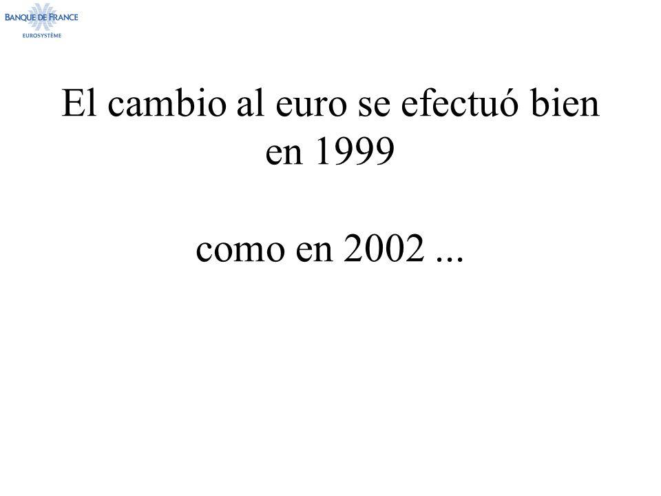 El cambio al euro se efectuó bien en 1999 como en 2002...