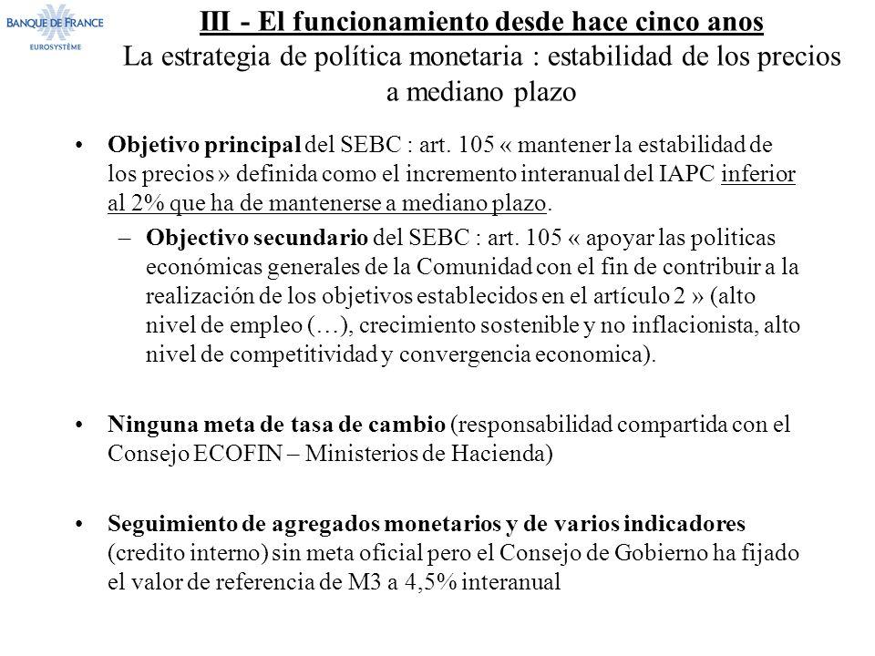 III - El funcionamiento desde hace cinco anos La estrategia de política monetaria : estabilidad de los precios a mediano plazo Objetivo principal del SEBC : art.