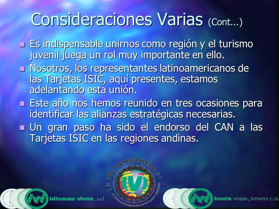 Consideraciones Varias (Cont...) Es indispensable unirnos como región y el turismo juvenil juega un rol muy importante en ello.