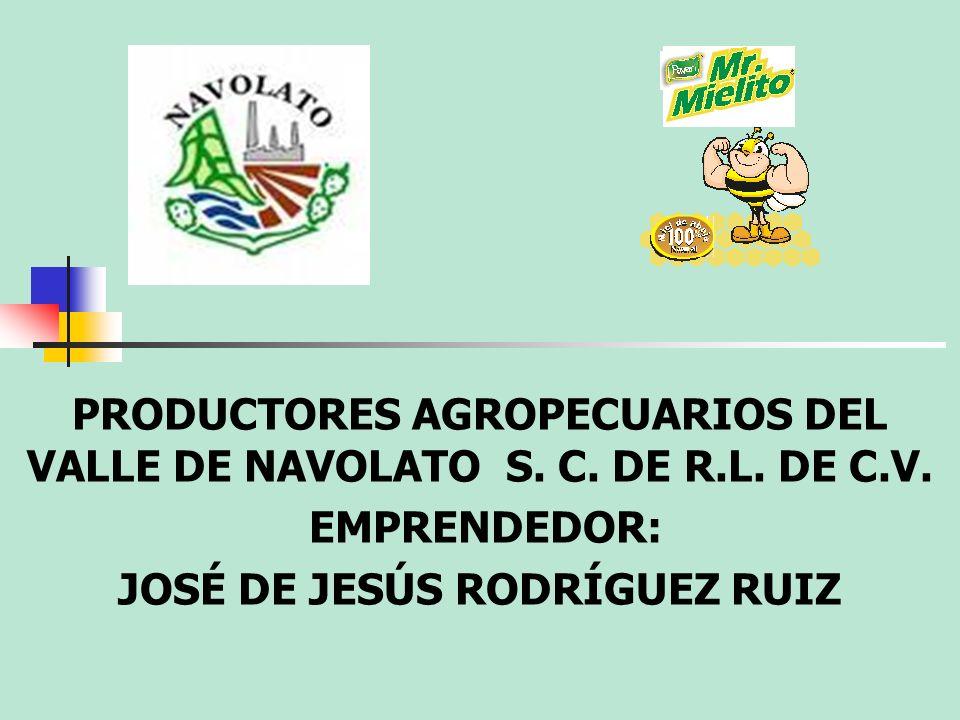PRODUCTORES AGROPECUARIOS DEL VALLE DE NAVOLATO S. C. DE R.L. DE C.V. EMPRENDEDOR: JOSÉ DE JESÚS RODRÍGUEZ RUIZ
