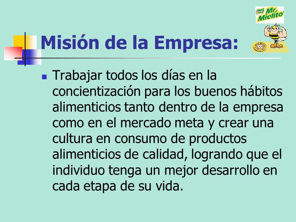 Misión de la Empresa: Trabajar todos los días en la concientización para los buenos hábitos alimenticios tanto dentro de la empresa como en el mercado