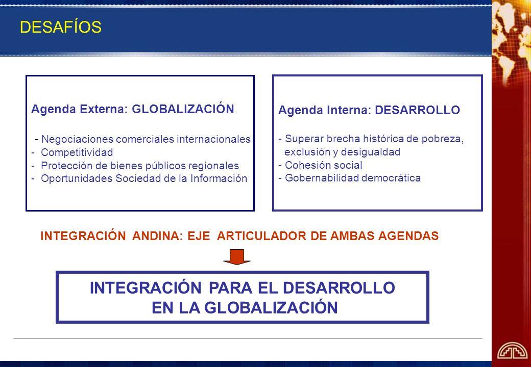 DESAFÍOS Agenda Externa: GLOBALIZACIÓN - Negociaciones comerciales internacionales - Competitividad - Protección de bienes públicos regionales - Oport