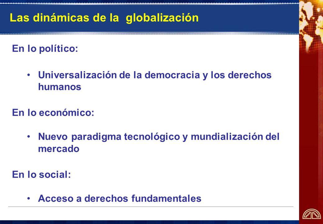 Las dinámicas de la globalización En lo político: Universalización de la democracia y los derechos humanos En lo económico: Nuevo paradigma tecnológic
