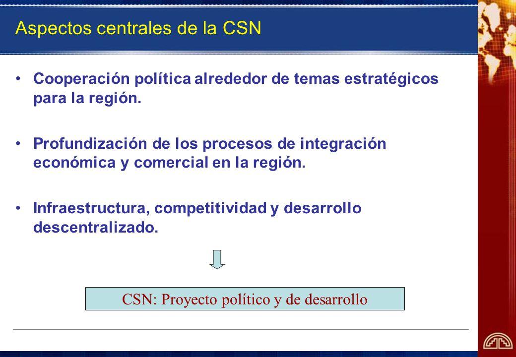 Aspectos centrales de la CSN Cooperación política alrededor de temas estratégicos para la región. Profundización de los procesos de integración económ