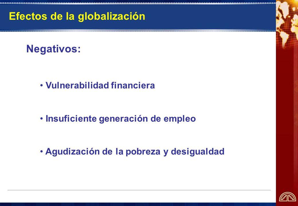 Efectos de la globalización Negativos: Vulnerabilidad financiera Insuficiente generación de empleo Agudización de la pobreza y desigualdad