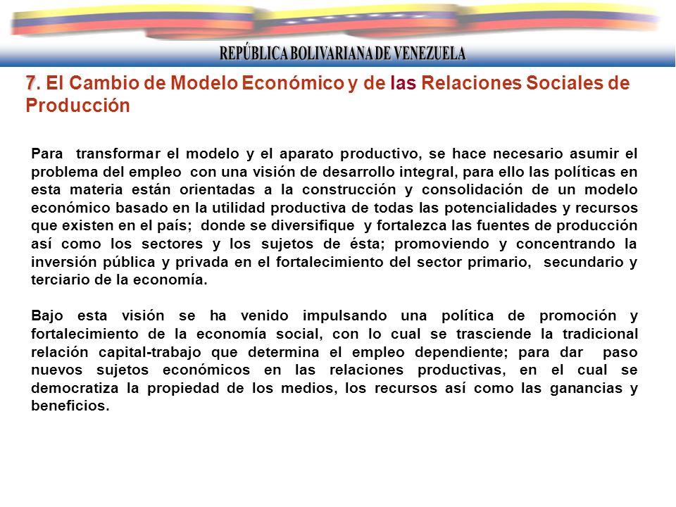 7 7. El Cambio de Modelo Económico y de las Relaciones Sociales de Producción Para transformar el modelo y el aparato productivo, se hace necesario as