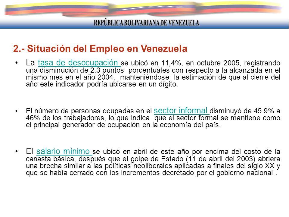 2.- Situación del Empleo en Venezuela La tasa de desocupación se ubicó en 11,4%, en octubre 2005, registrando una disminución de 2.3 puntos porcentual