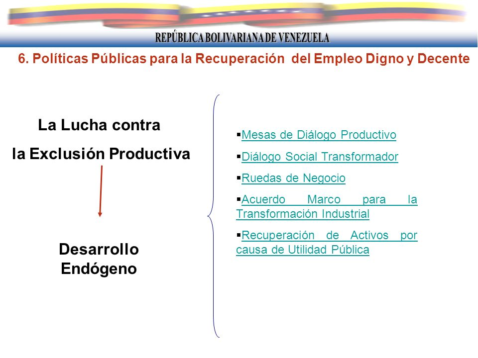 6. Políticas Públicas para la Recuperación del Empleo Digno y Decente La Lucha contra la Exclusión Productiva Desarrollo Endógeno Mesas de Diálogo Pro