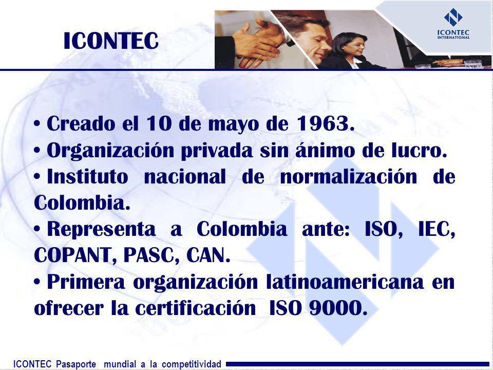 ICONTEC Pasaporte mundial a la competitividad ICONTEC Creado el 10 de mayo de 1963. Organización privada sin ánimo de lucro. Instituto nacional de nor