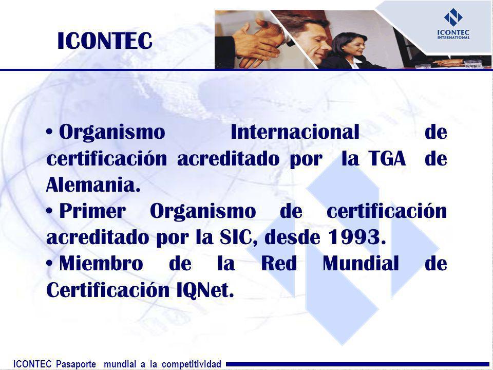 ICONTEC Pasaporte mundial a la competitividad ICONTEC Organismo Internacional de certificación acreditado por la TGA de Alemania. Primer Organismo de