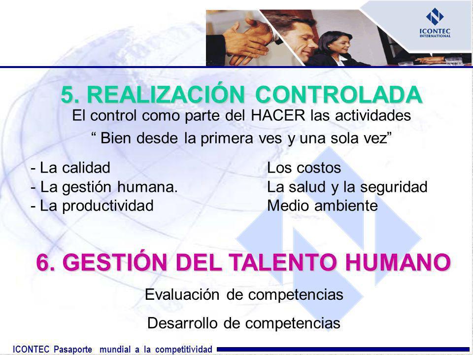 ICONTEC Pasaporte mundial a la competitividad 6. GESTIÓN DEL TALENTO HUMANO Evaluación de competencias Desarrollo de competencias 5. REALIZACIÓN CONTR