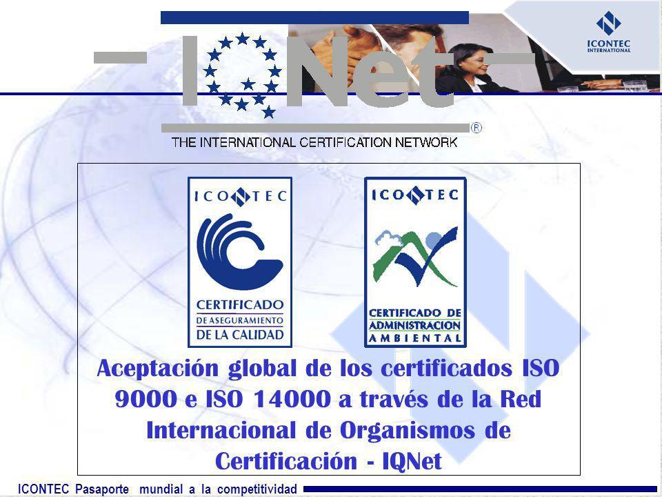 ICONTEC Pasaporte mundial a la competitividad Aceptación global de los certificados ISO 9000 e ISO 14000 a través de la Red Internacional de Organismo