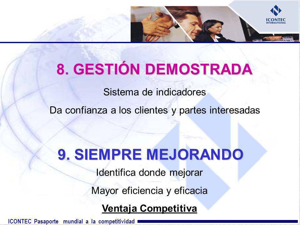ICONTEC Pasaporte mundial a la competitividad 8. GESTIÓN DEMOSTRADA Sistema de indicadores Da confianza a los clientes y partes interesadas 9. SIEMPRE