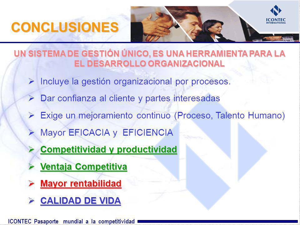 ICONTEC Pasaporte mundial a la competitividad Incluye la gestión organizacional por procesos. Dar confianza al cliente y partes interesadas Exige un m