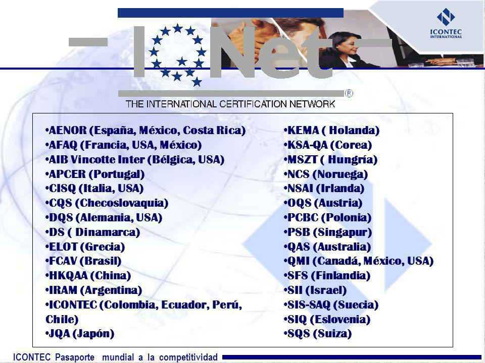 ICONTEC Pasaporte mundial a la competitividad AENOR (España, México, Costa Rica) AFAQ (Francia, USA, México) AIB Vincotte Inter (Bélgica, USA) APCER (