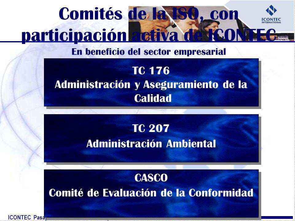 ICONTEC Pasaporte mundial a la competitividad TC 176 Administración y Aseguramiento de la Calidad TC 207 Administración Ambiental CASCO Comité de Eval