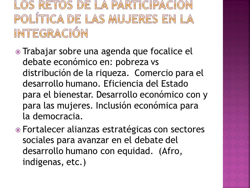 Trabajar sobre una agenda que focalice el debate económico en: pobreza vs distribución de la riqueza.