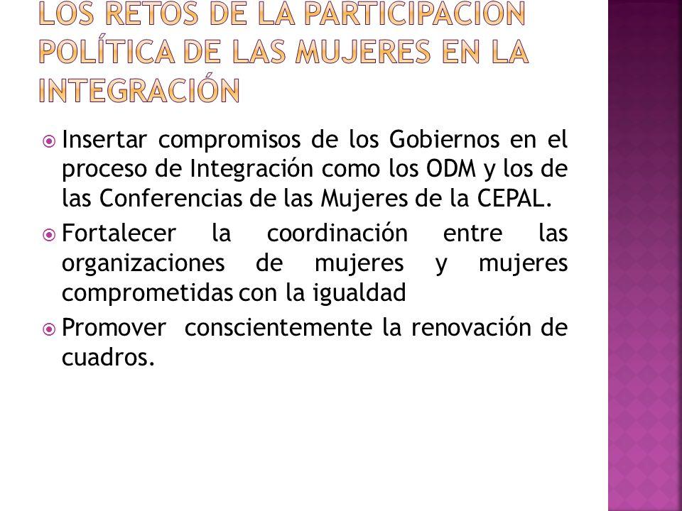 Insertar compromisos de los Gobiernos en el proceso de Integración como los ODM y los de las Conferencias de las Mujeres de la CEPAL.