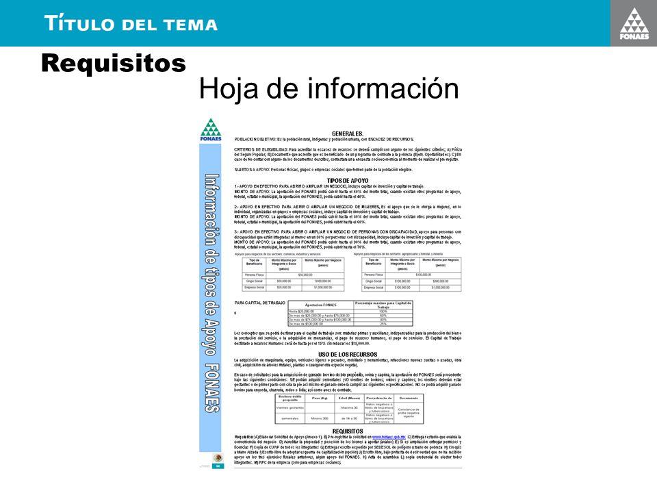 Requisitos Hoja de información