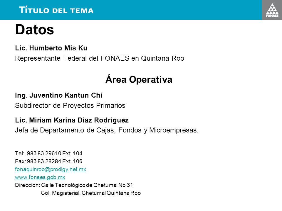 Datos Lic. Humberto Mis Ku Representante Federal del FONAES en Quintana Roo Área Operativa Ing. Juventino Kantun Chi Subdirector de Proyectos Primario