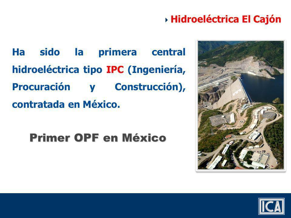 ICA La Peninsular Energo La CFE adjudicó en marzo de 2003, el financiamiento y la construcción del proyecto a Constructora Internacional de Infraestructura (CIISA) Hidroeléctrica El Cajón