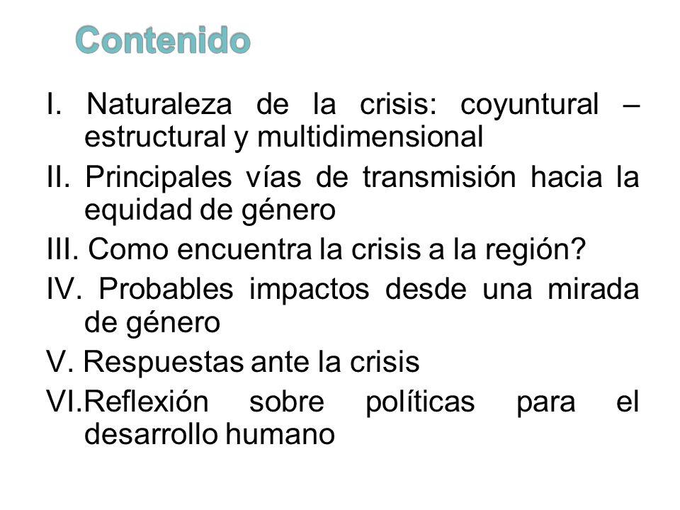 I. Naturaleza de la crisis: coyuntural – estructural y multidimensional II. Principales vías de transmisión hacia la equidad de género III. Como encue