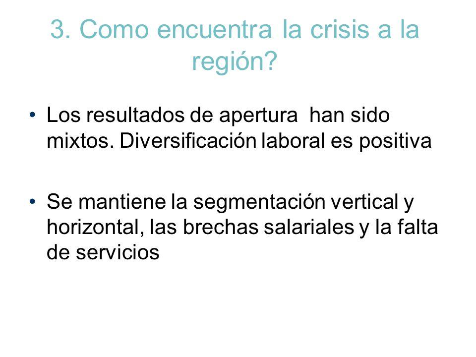 3. Como encuentra la crisis a la región? Los resultados de apertura han sido mixtos. Diversificación laboral es positiva Se mantiene la segmentación v