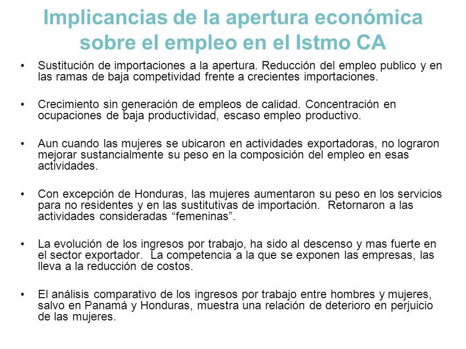 Implicancias de la apertura económica sobre el empleo en el Istmo CA Sustitución de importaciones a la apertura. Reducción del empleo publico y en las
