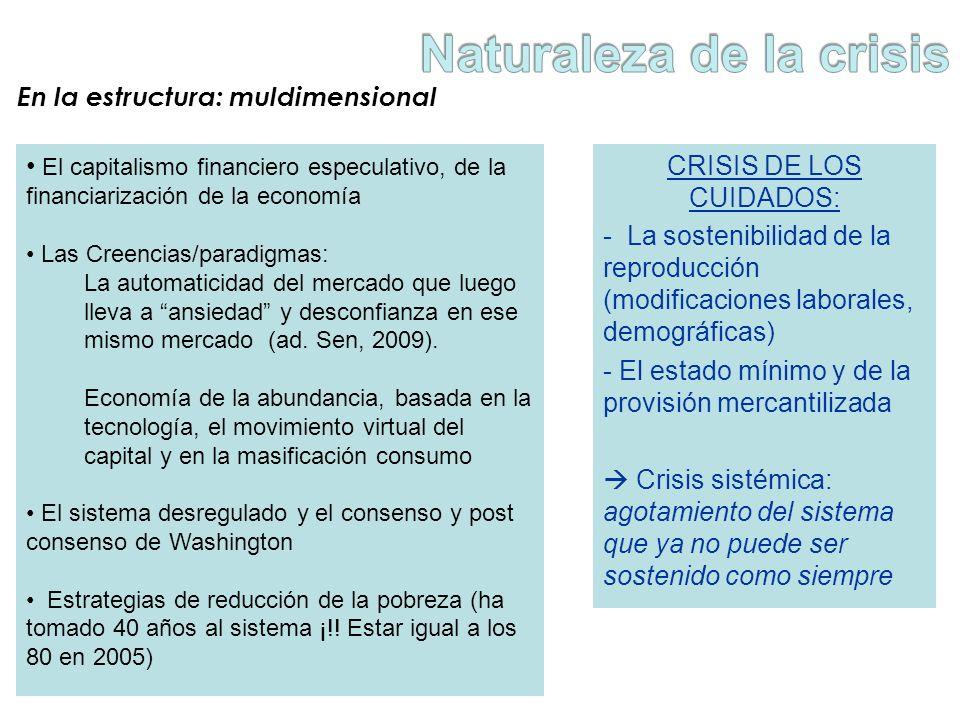 En la estructura: muldimensional CRISIS DE LOS CUIDADOS: - La sostenibilidad de la reproducción (modificaciones laborales, demográficas) - El estado m