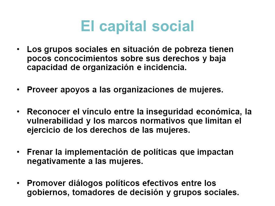 El capital social Los grupos sociales en situación de pobreza tienen pocos concocimientos sobre sus derechos y baja capacidad de organización e incide