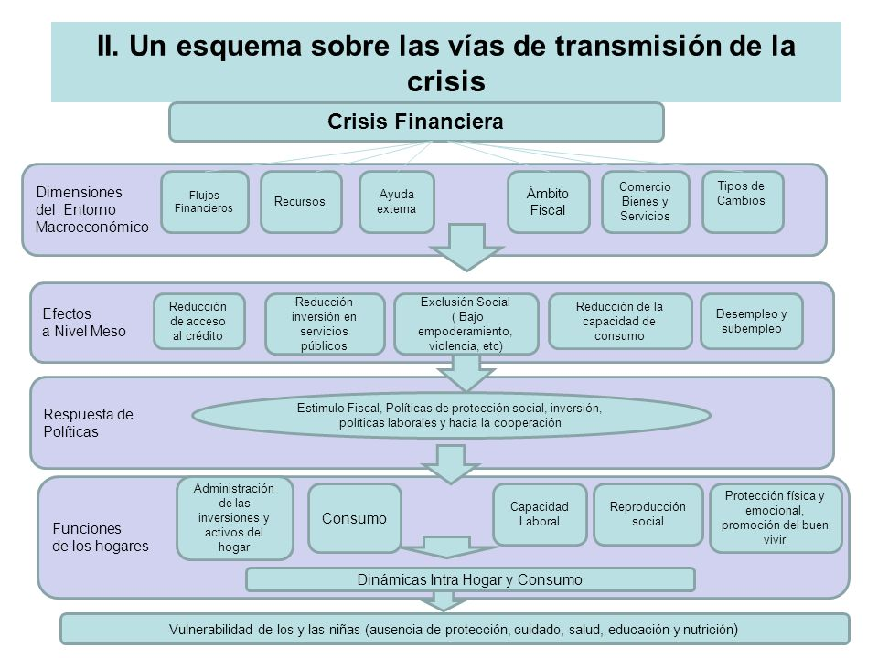 II. Un esquema sobre las vías de transmisión de la crisis Crisis Financiera Dimensiones del Entorno Macroeconómico Efectos a Nivel Meso Respuesta de P