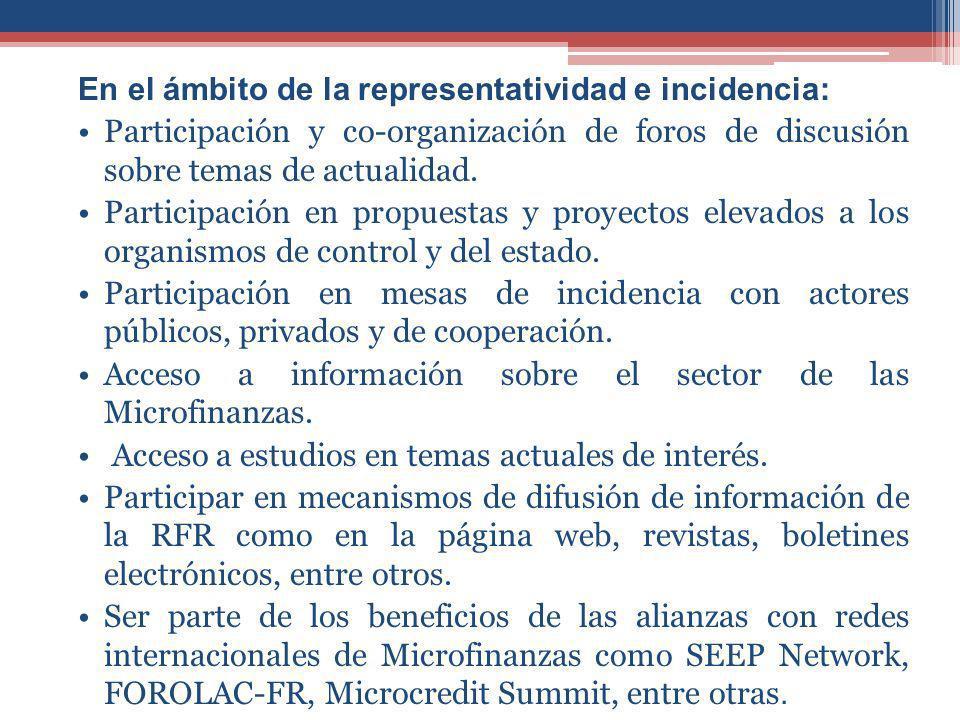 En el ámbito de la representatividad e incidencia: Participación y co-organización de foros de discusión sobre temas de actualidad.