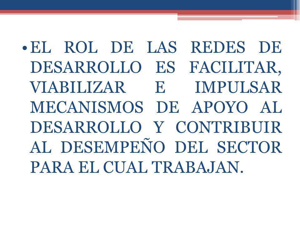 EL ROL DE LAS REDES DE DESARROLLO ES FACILITAR, VIABILIZAR E IMPULSAR MECANISMOS DE APOYO AL DESARROLLO Y CONTRIBUIR AL DESEMPEÑO DEL SECTOR PARA EL CUAL TRABAJAN.