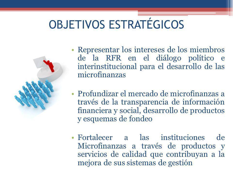 OBJETIVOS ESTRATÉGICOS Representar los intereses de los miembros de la RFR en el diálogo político e interinstitucional para el desarrollo de las microfinanzas Profundizar el mercado de microfinanzas a través de la transparencia de información financiera y social, desarrollo de productos y esquemas de fondeo Fortalecer a las instituciones de Microfinanzas a través de productos y servicios de calidad que contribuyan a la mejora de sus sistemas de gestión
