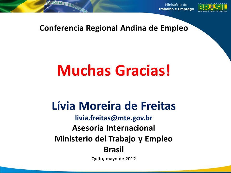 Conferencia Regional Andina de Empleo Muchas Gracias! Lívia Moreira de Freitas livia.freitas@mte.gov.br Asesoría Internacional Ministerio del Trabajo
