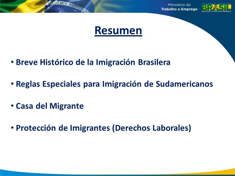 Resumen Breve Histórico de la Imigración Brasilera Reglas Especiales para Imigración de Sudamericanos Casa del Migrante Protección de Imigrantes (Dere