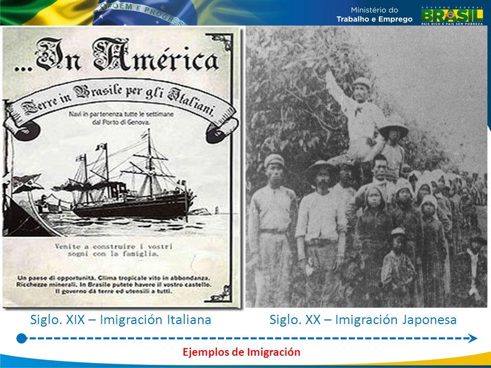 Siglo. XIX – Imigración ItalianaSiglo. XX – Imigración Japonesa Ejemplos de Imigración