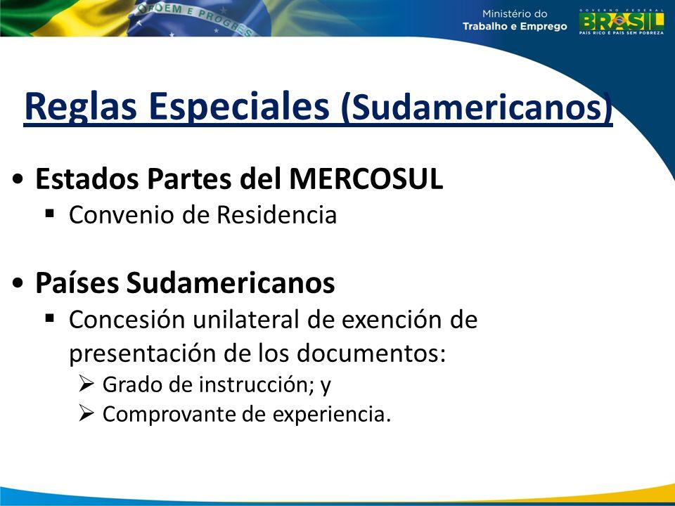 Reglas Especiales (Sudamericanos) Estados Partes del MERCOSUL Convenio de Residencia Países Sudamericanos Concesión unilateral de exención de presenta