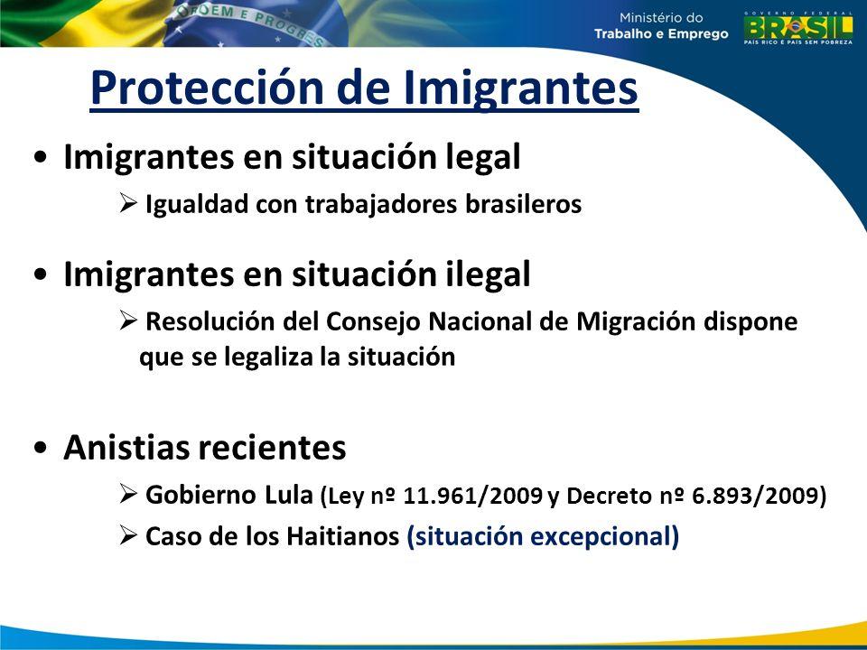 Protección de Imigrantes Imigrantes en situación legal Igualdad con trabajadores brasileros Imigrantes en situación ilegal Resolución del Consejo Naci