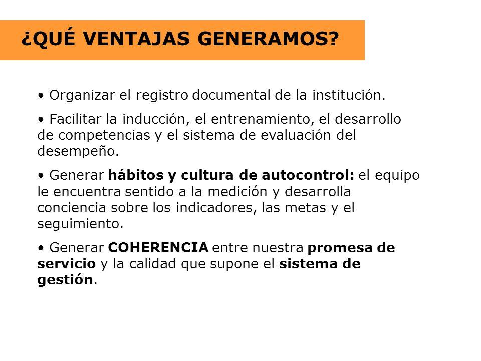 ¿QUÉ VENTAJAS GENERAMOS? Organizar el registro documental de la institución. Facilitar la inducción, el entrenamiento, el desarrollo de competencias y