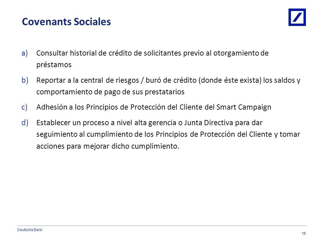 Deutsche Bank 14 1/10/2014 6:08:24 AM2010 DB Blue template Condiciones Pre-Desembolso a) Código de Ética que cubra el trato al cliente y sanciones por
