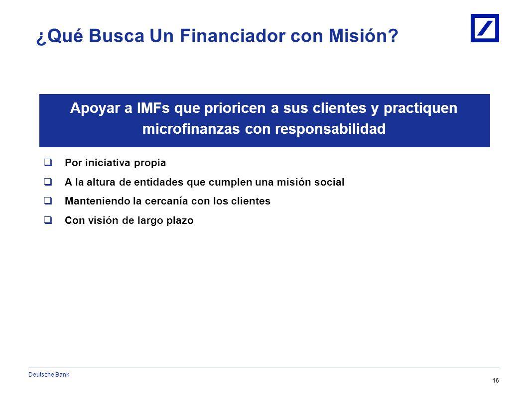 Deutsche Bank 15 1/10/2014 6:08:24 AM2010 DB Blue template Covenants Sociales a) Consultar historial de crédito de solicitantes previo al otorgamiento de préstamos b) Reportar a la central de riesgos / buró de crédito (donde éste exista) los saldos y comportamiento de pago de sus prestatarios c) Adhesión a los Principios de Protección del Cliente del Smart Campaign d) Establecer un proceso a nivel alta gerencia o Junta Directiva para dar seguimiento al cumplimiento de los Principios de Protección del Cliente y tomar acciones para mejorar dicho cumplimiento.