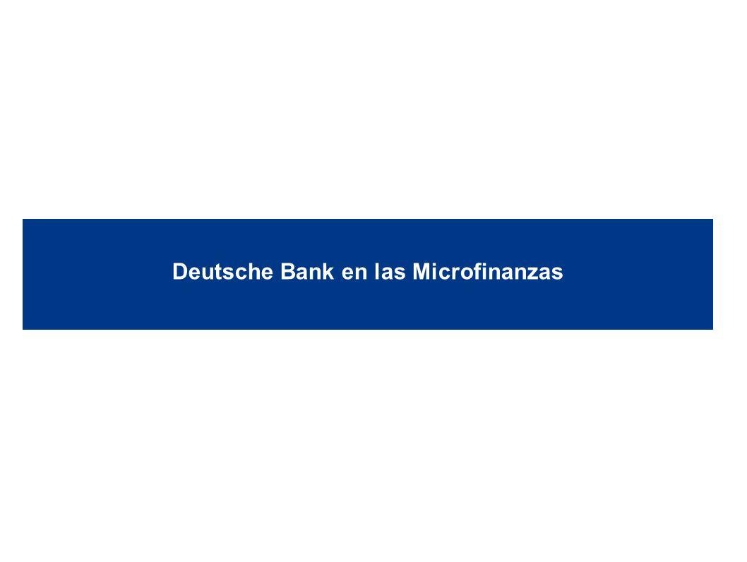 Deutsche Bank 12 1/10/2014 6:08:24 AM2010 DB Blue template Social Scorecard Evaluación que genera una calificación de 0 a 100 en base a elementos agrupados en seis categorías: Misión Social / Gobierno / Cultura Protección del Cliente Monitoreo de Clientes / Medición de Desempeño Social Alcance Variedad de Servicios / Innovación de Productos Desempeño Financiero Responsable Este instrumento nos permite hacer una evaluación más sistemática y que no depende de la impresión del analista.
