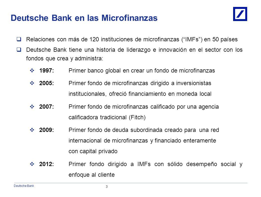 Deutsche Bank 3 Relaciones con más de 120 instituciones de microfinanzas (IMFs) en 50 países Deutsche Bank tiene una historia de liderazgo e innovación en el sector con los fondos que crea y administra: 1997:Primer banco global en crear un fondo de microfinanzas 2005: Primer fondo de microfinanzas dirigido a inversionistas institucionales, ofreció financiamiento en moneda local 2007: Primer fondo de microfinanzas calificado por una agencia calificadora tradicional (Fitch) 2009: Primer fondo de deuda subordinada creado parauna red internacional de microfinanzas y financiado enteramente con capital privado 2012: Primer fondo dirigido a IMFs con sólido desempeño social y enfoque al cliente Deutsche Bank en las Microfinanzas