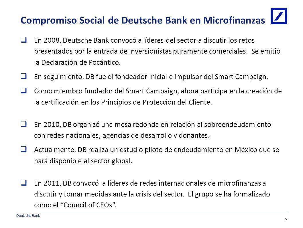 Deutsche Bank 4 Cobertura Actual del Portafolio de Microfinanzas Latinoamérica & el Caribe Bolivia Colombia Ecuador El Salvador Honduras México Nicara