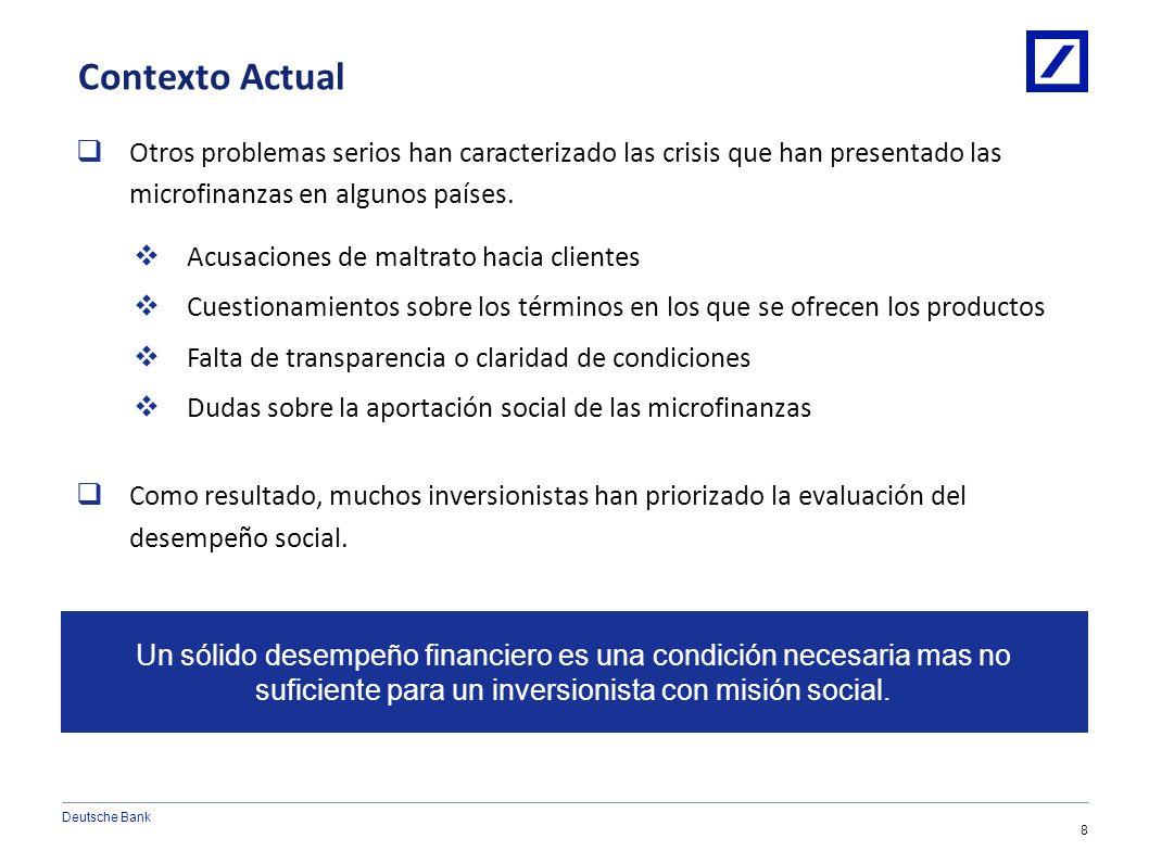 Deutsche Bank 7 1/10/2014 6:08:24 AM2010 DB Blue template Contexto Actual Aunque las microfinanzas nacieron con una misión de alivio a la pobreza y de